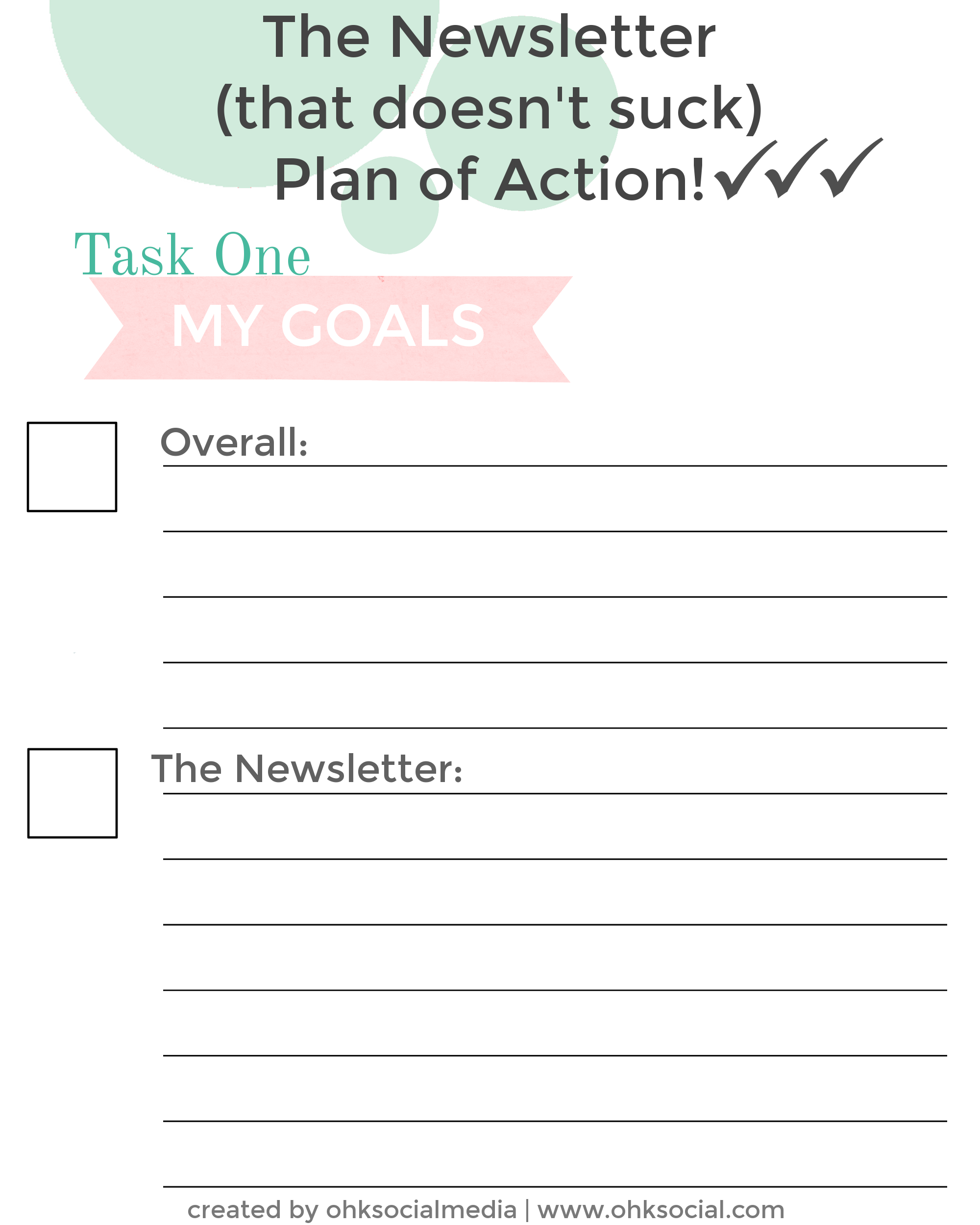 Free Newsletter Plan of Action Printables - Get more Subscribers! ohksocialmedia