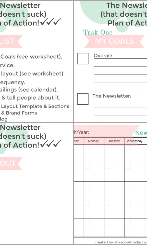 Free Newsletter Plan of Action Printables - ohksocialmedia