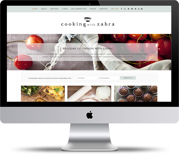 Cooking With Zahra Website Mockup - Website Design Portfolio - Peppercorn Creative