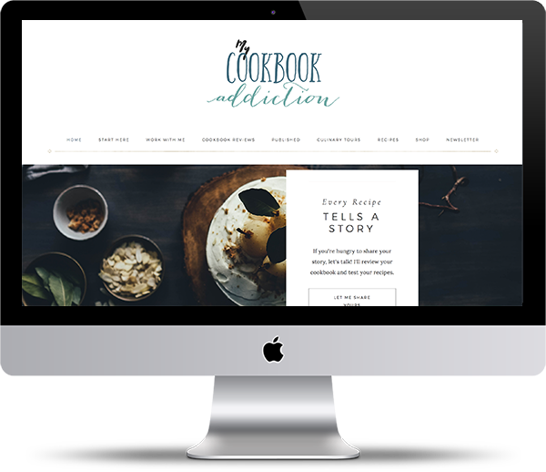 My Cookbook Addiciton iMac Mockup - Website Design Client